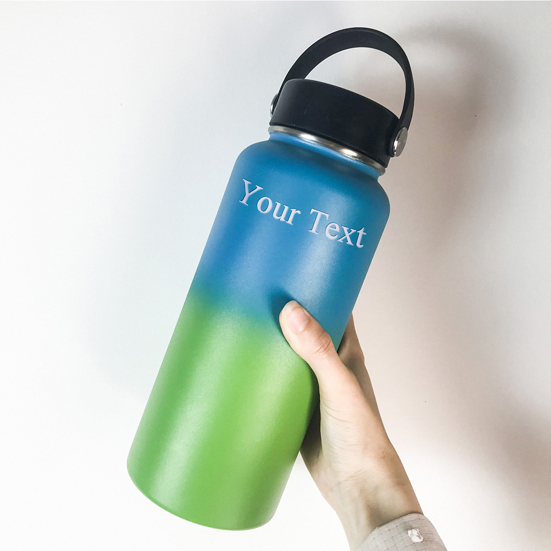 Custom Engraved Name Insulated Water Bottle with Handle Lids