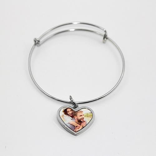 Custom Heart Pendant Photo Bracelet