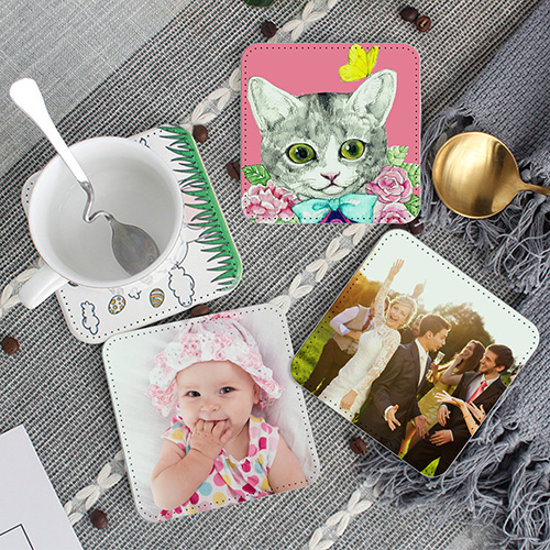Custom Photo Leather Coasters