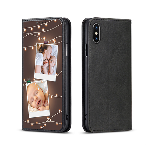 Custom for iPhone X Flip Wallet Case