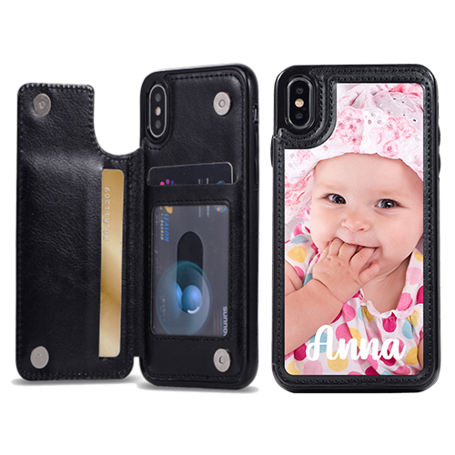 Custom for iPhone XS Card Holder Wallet Case