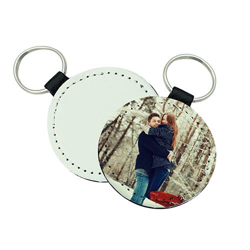 Custom Round Leather Keychain