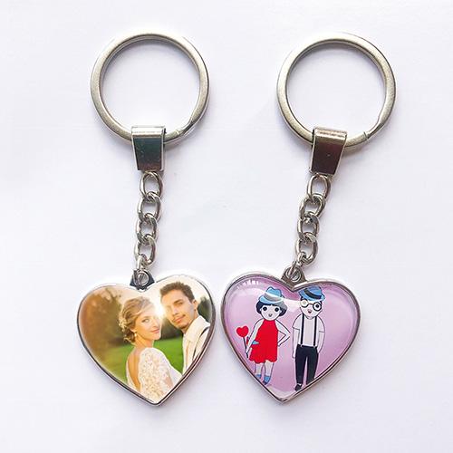 Custom Photo Heart Metal Keychain