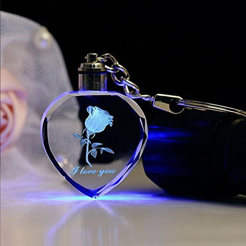 Custom LED Photo Heart Crystal Keychain