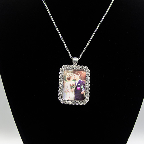 Custom Diamond Square Crystal Photo Necklace