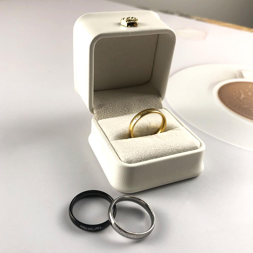 Personalised Monogram 3MM Thin Tungsten Steel Rings for Women C02